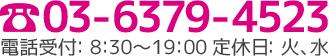 03-6379-4523 電話受付:10:00-18:00 定休日:月、火