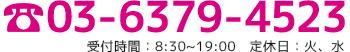 03-6379-4523 受付時間:8:30~19:00   定休日:火、水